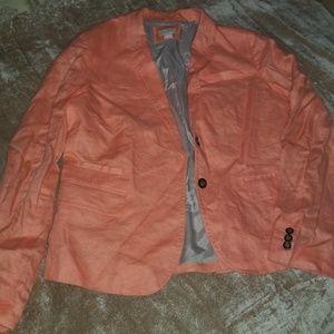 J Crew peach linen blazer